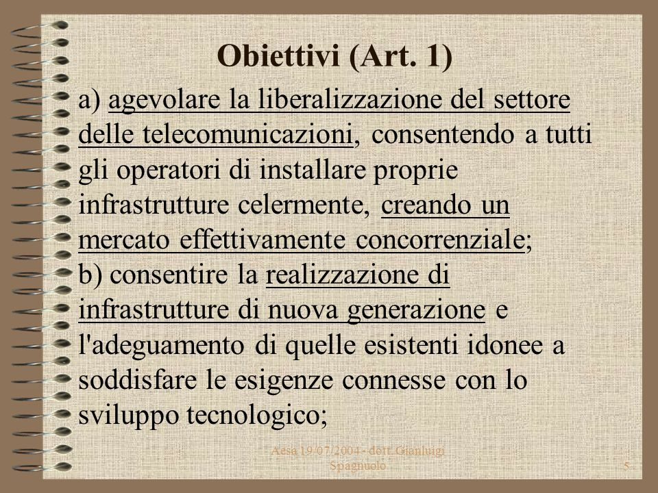 Aesa 19/07/2004 - dott.Gianluigi Spagnuolo5 Obiettivi (Art.
