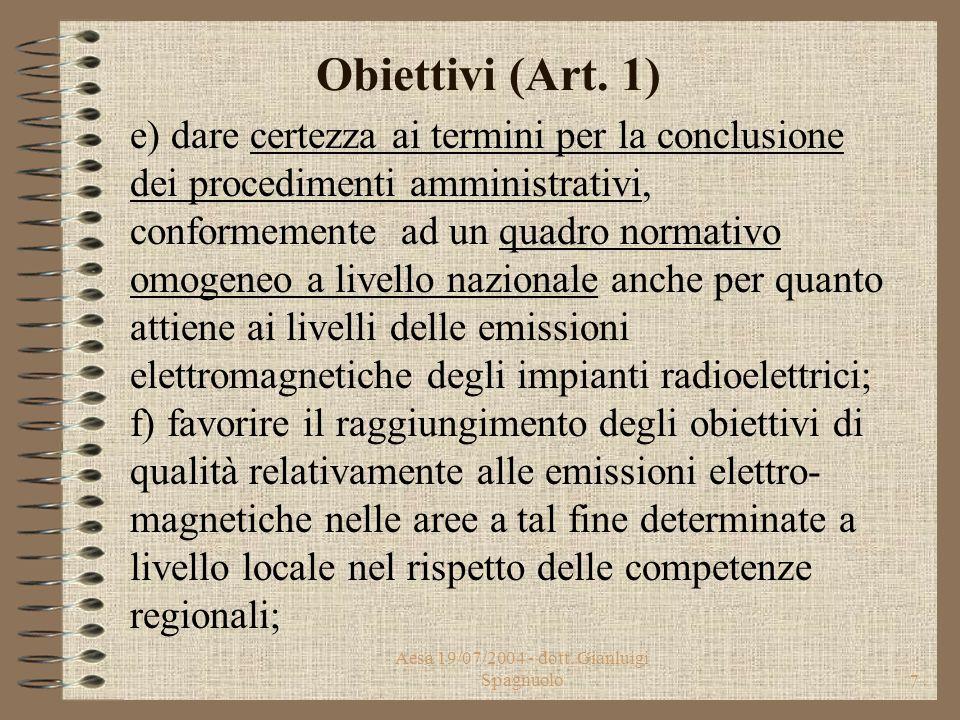 Aesa 19/07/2004 - dott. Gianluigi Spagnuolo6 Obiettivi (Art. 1) c) razionalizzare le procedure autorizzatorie per l'installazione di impianti di telec