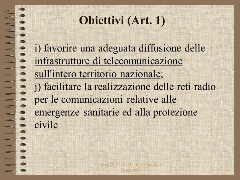Aesa 19/07/2004 - dott. Gianluigi Spagnuolo8 Obiettivi (Art. 1) g) assicurare condizioni che consentano agli operatori di offrire, in regime di libero