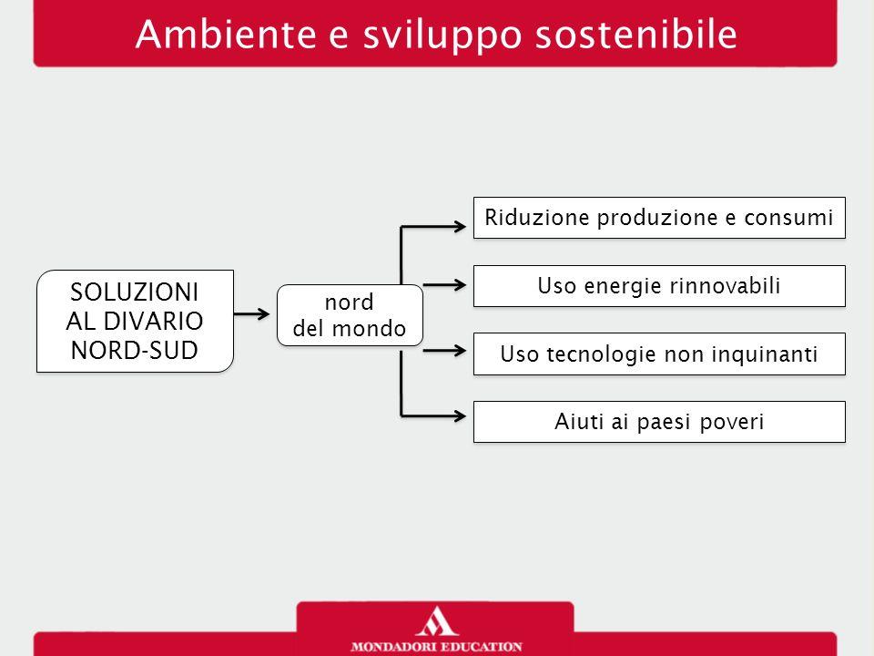 SOLUZIONI AL DIVARIO NORD-SUD SOLUZIONI AL DIVARIO NORD-SUD Riduzione produzione e consumi Uso energie rinnovabili Aiuti ai paesi poveri Ambiente e sv