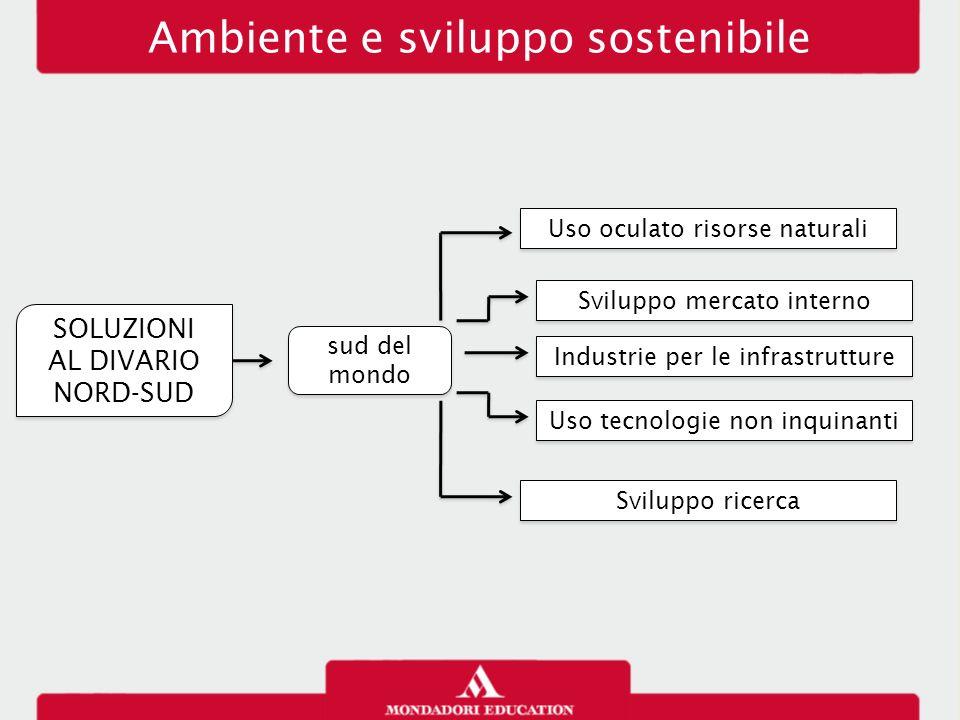 Ambiente e sviluppo sostenibile Uso oculato risorse naturali Sviluppo mercato interno Uso tecnologie non inquinanti Sviluppo ricerca SOLUZIONI AL DIVA