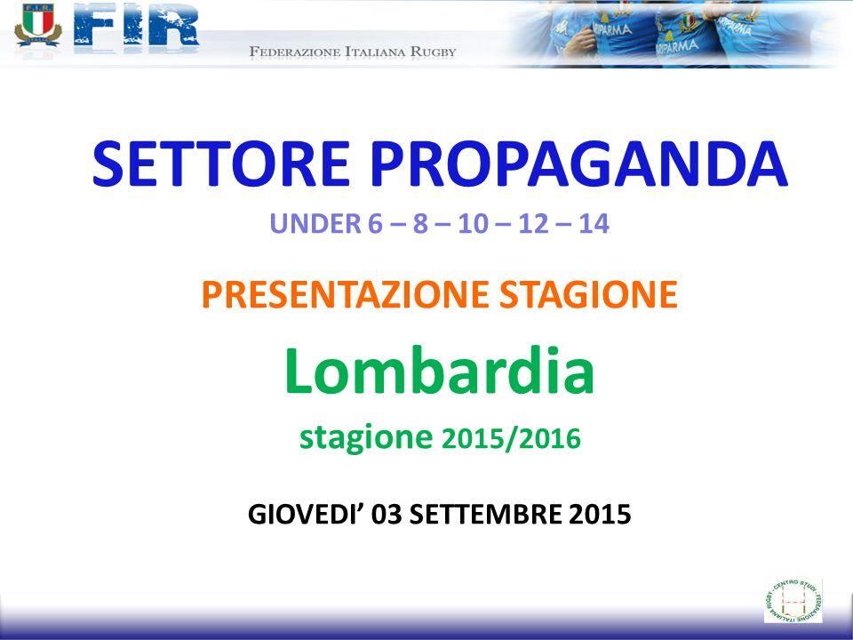 SETTORE PROPAGANDA UNDER 6 – 8 – 10 – 12 – 14 PRESENTAZIONE STAGIONE Lombardia stagione 2015/2016 GIOVEDI' 03 SETTEMBRE 2015