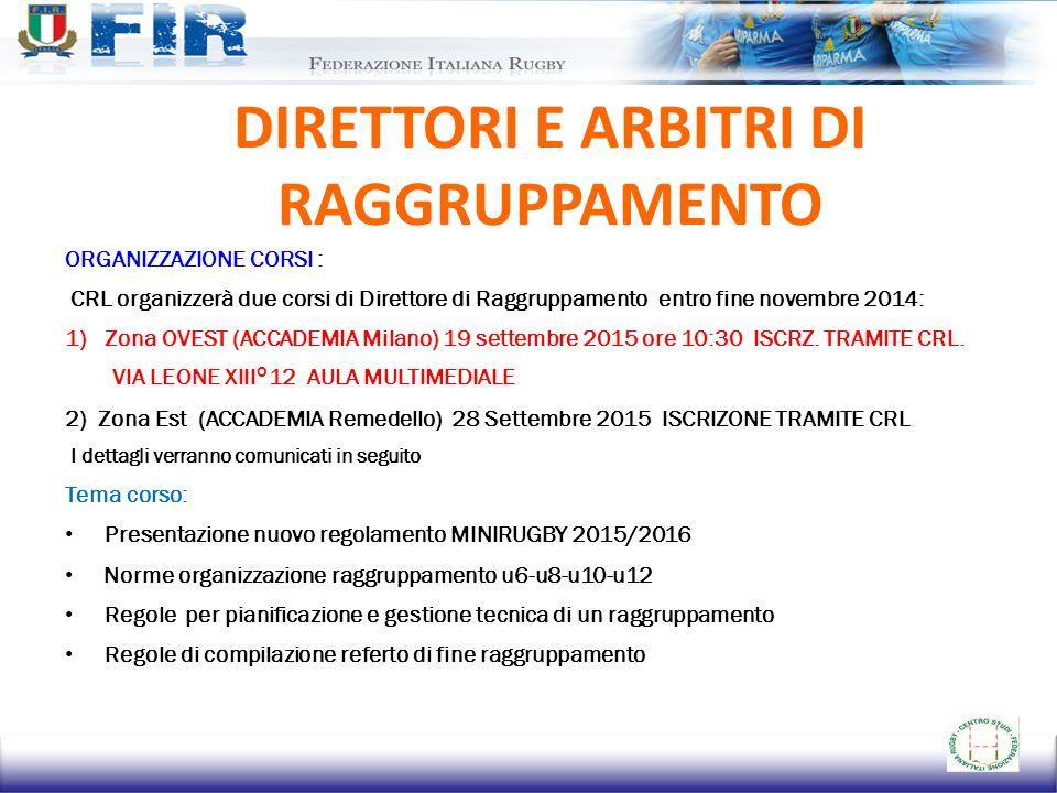 DIRETTORI E ARBITRI DI RAGGRUPPAMENTO ORGANIZZAZIONE CORSI : CRL organizzerà due corsi di Direttore di Raggruppamento entro fine novembre 2014: 1)Zona