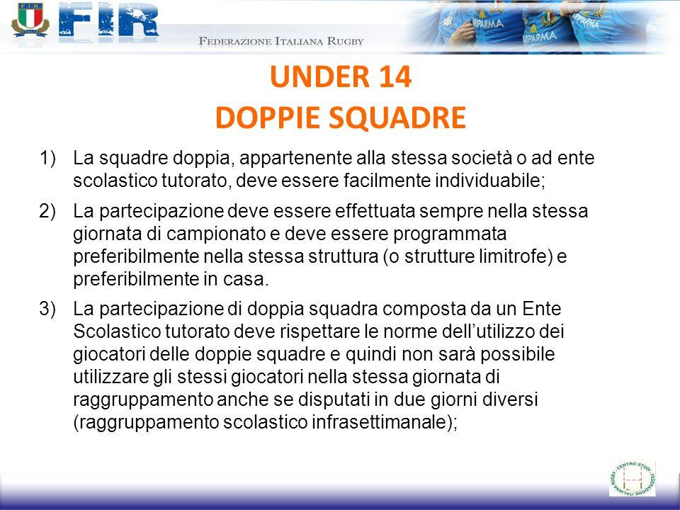 UNDER 14 DOPPIE SQUADRE 1)La squadre doppia, appartenente alla stessa società o ad ente scolastico tutorato, deve essere facilmente individuabile; 2)L