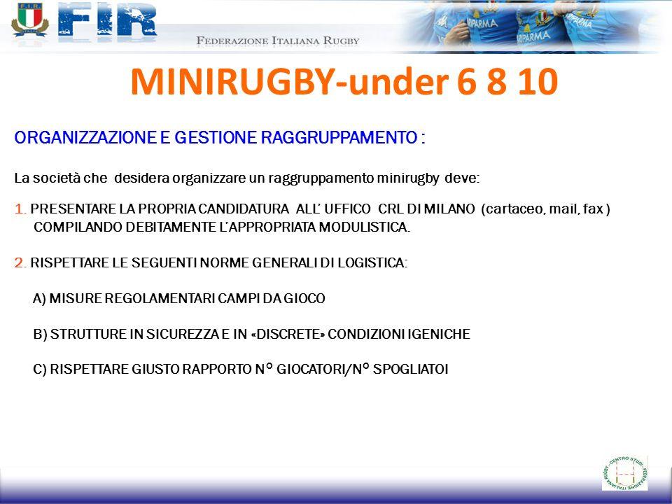 MINIRUGBY-under 6 8 10 ORGANIZZAZIONE E GESTIONE RAGGRUPPAMENTO : La società che desidera organizzare un raggruppamento minirugby deve: 1. PRESENTARE