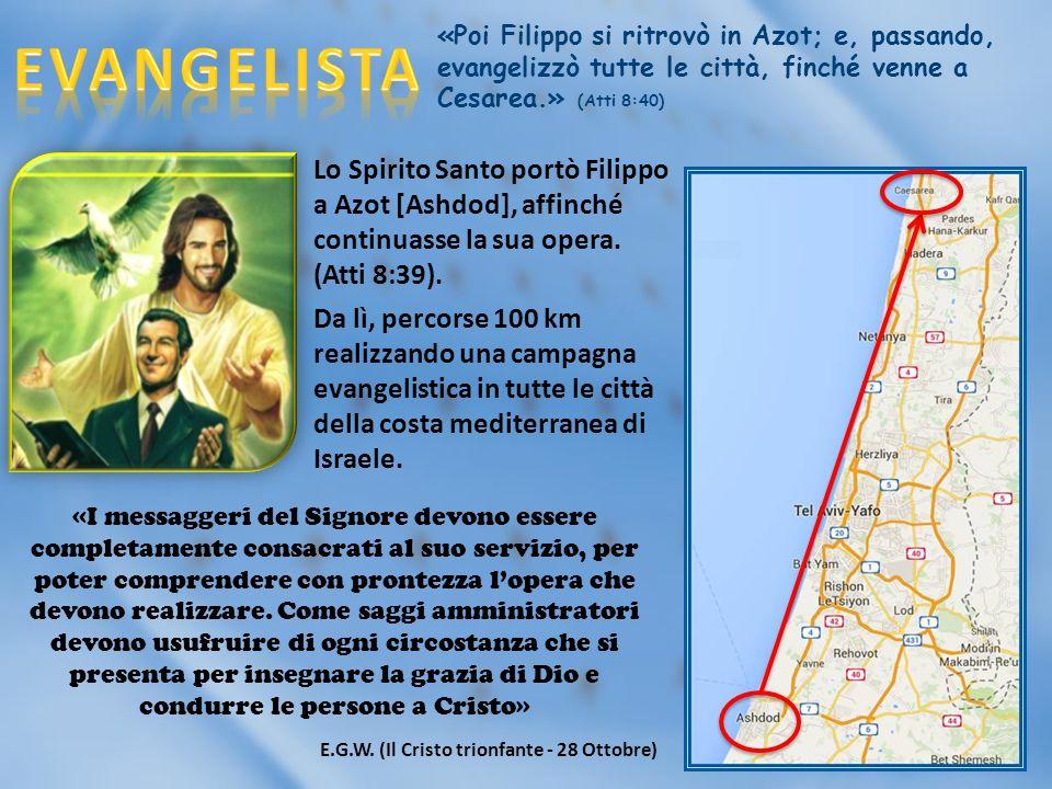 «Poi Filippo si ritrovò in Azot; e, passando, evangelizzò tutte le città, finché venne a Cesarea.» (Atti 8:40) Lo Spirito Santo portò Filippo a Azot [