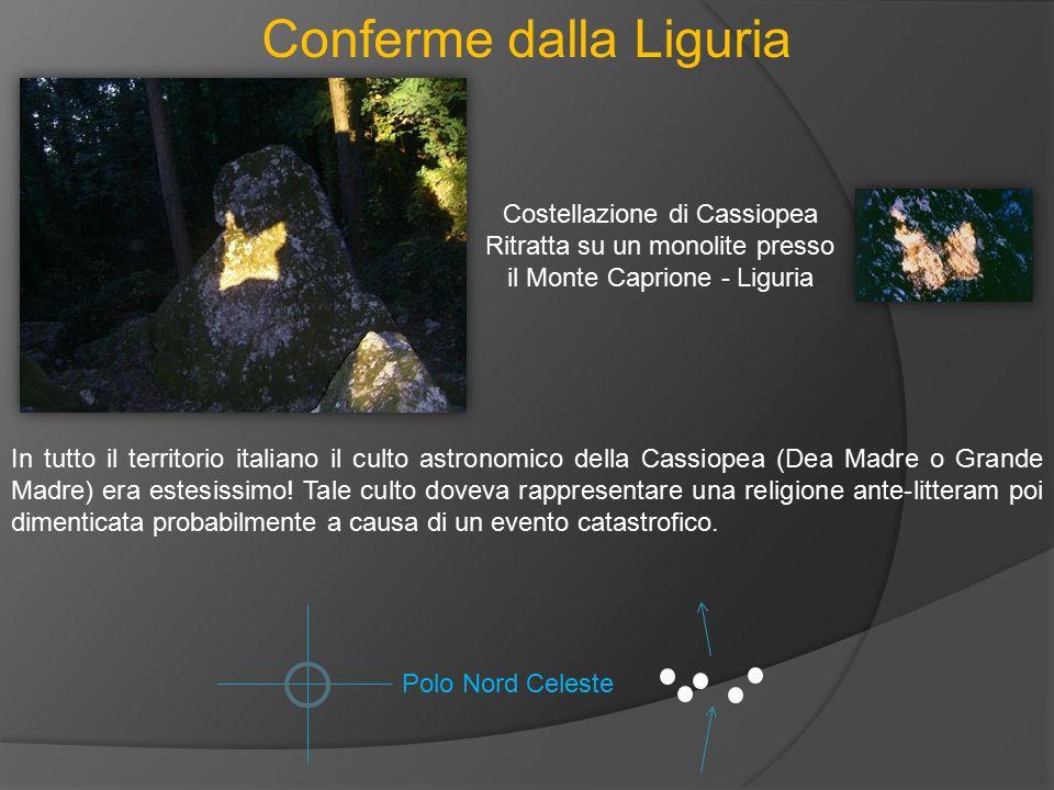 Conferme dalla Liguria Costellazione di Cassiopea Ritratta su un monolite presso il Monte Caprione - Liguria In tutto il territorio italiano il culto