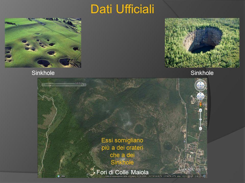 Dati Ufficiali Sinkhole Fori di Colle Maiola Essi somigliano più a dei crateri che a dei Sinkhole