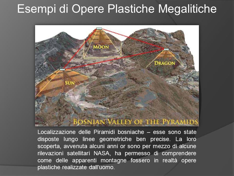 Esempi di Opere Plastiche Megalitiche Localizzazione delle Piramidi bosniache – esse sono state disposte lungo linee geometriche ben precise. La loro
