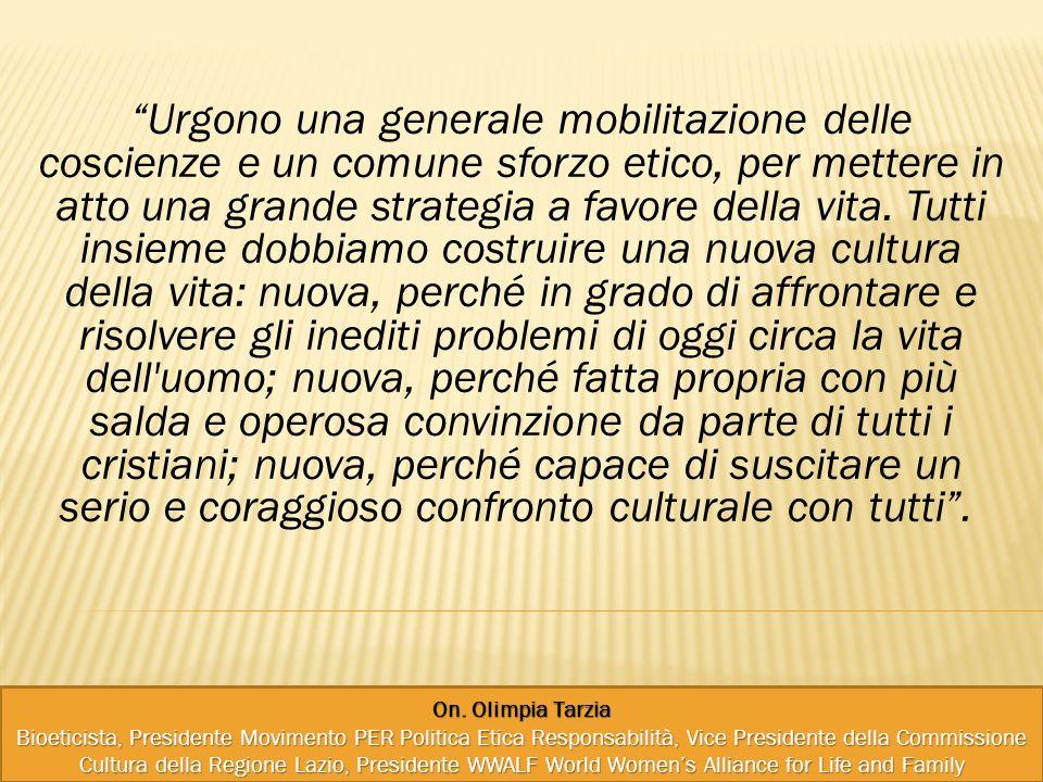 On. Olimpia Tarzia Bioeticista, Presidente Movimento PER Politica Etica Responsabilità, Vice Presidente della Commissione Cultura della Regione Lazio,