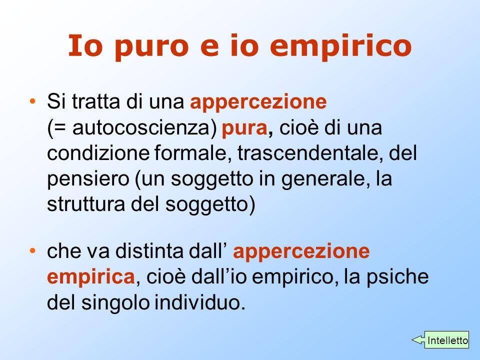 Io puro e io empirico Si tratta di una appercezione (= autocoscienza) pura, cioè di una condizione formale, trascendentale, del pensiero (un soggetto