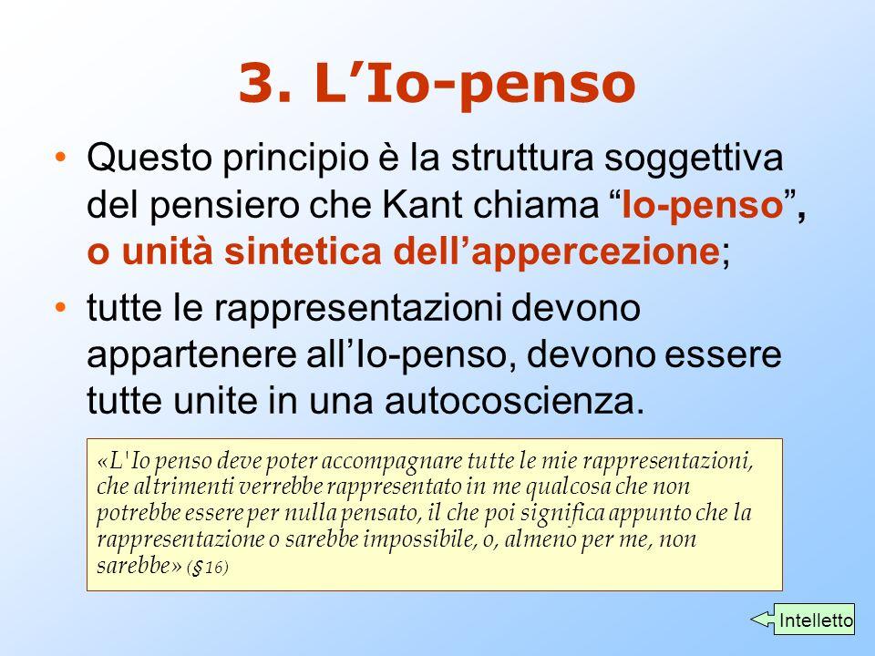 """3. L'Io-penso Questo principio è la struttura soggettiva del pensiero che Kant chiama """"Io-penso"""", o unità sintetica dell'appercezione; tutte le rappre"""