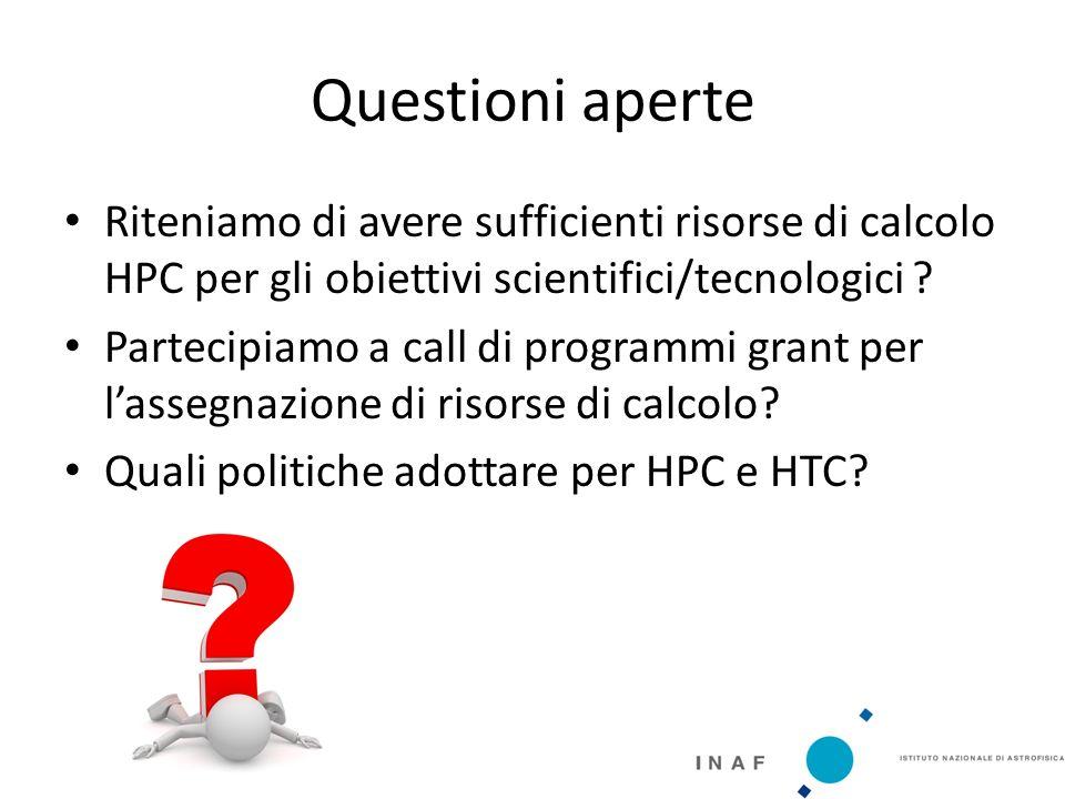 Questioni aperte Riteniamo di avere sufficienti risorse di calcolo HPC per gli obiettivi scientifici/tecnologici .