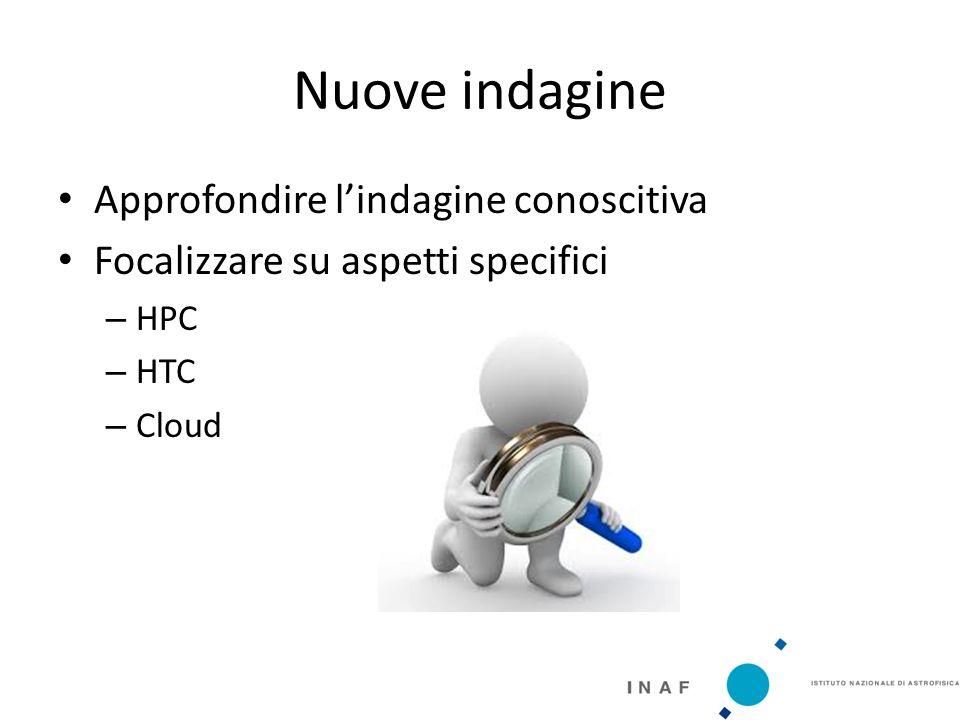 Nuove indagine Approfondire l'indagine conoscitiva Focalizzare su aspetti specifici – HPC – HTC – Cloud