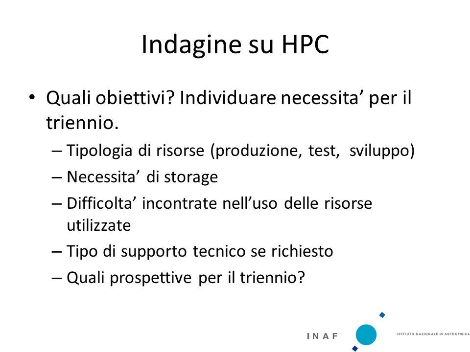 Indagine su HPC Quali obiettivi. Individuare necessita' per il triennio.