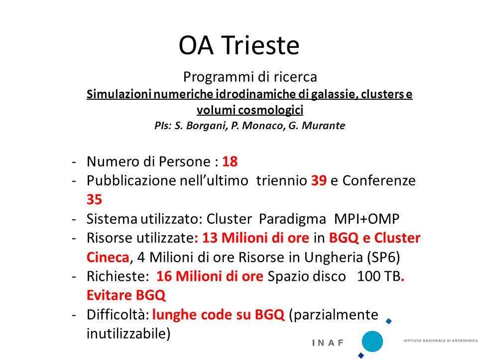 OA Trieste Programmi di ricerca Simulazioni numeriche idrodinamiche di galassie, clusters e volumi cosmologici PIs: S.