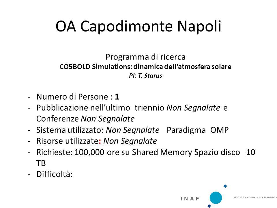 OA Capodimonte Napoli Programma di ricerca CO5BOLD Simulations: dinamica dell'atmosfera solare PI: T.