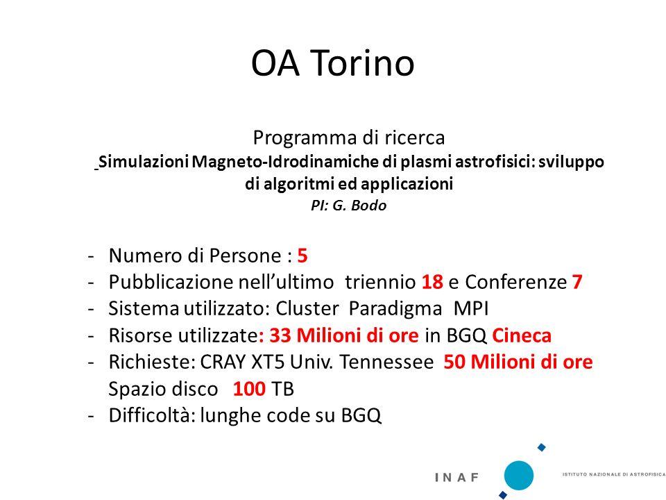 OA Torino Programma di ricerca Simulazioni Magneto‐Idrodinamiche di plasmi astrofisici: sviluppo di algoritmi ed applicazioni PI: G.