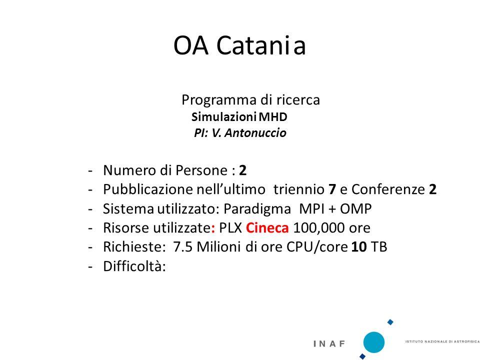 OA Catania Programma di ricerca Simulazioni MHD PI: V.
