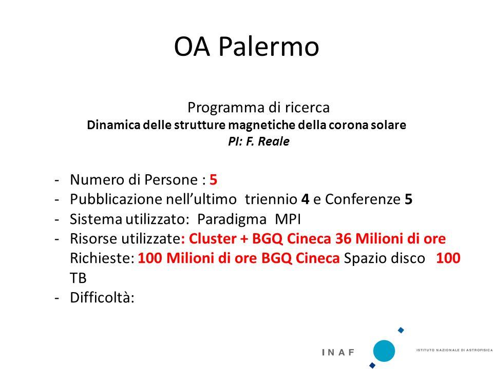 OA Palermo Programma di ricerca Dinamica delle strutture magnetiche della corona solare PI: F.