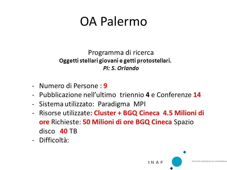 OA Palermo Programma di ricerca Oggetti stellari giovani e getti protostellari.