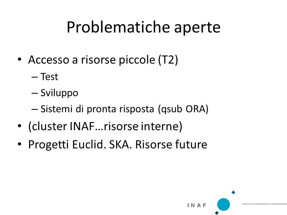 Problematiche aperte Accesso a risorse piccole (T2) – Test – Sviluppo – Sistemi di pronta risposta (qsub ORA) (cluster INAF…risorse interne) Progetti Euclid.