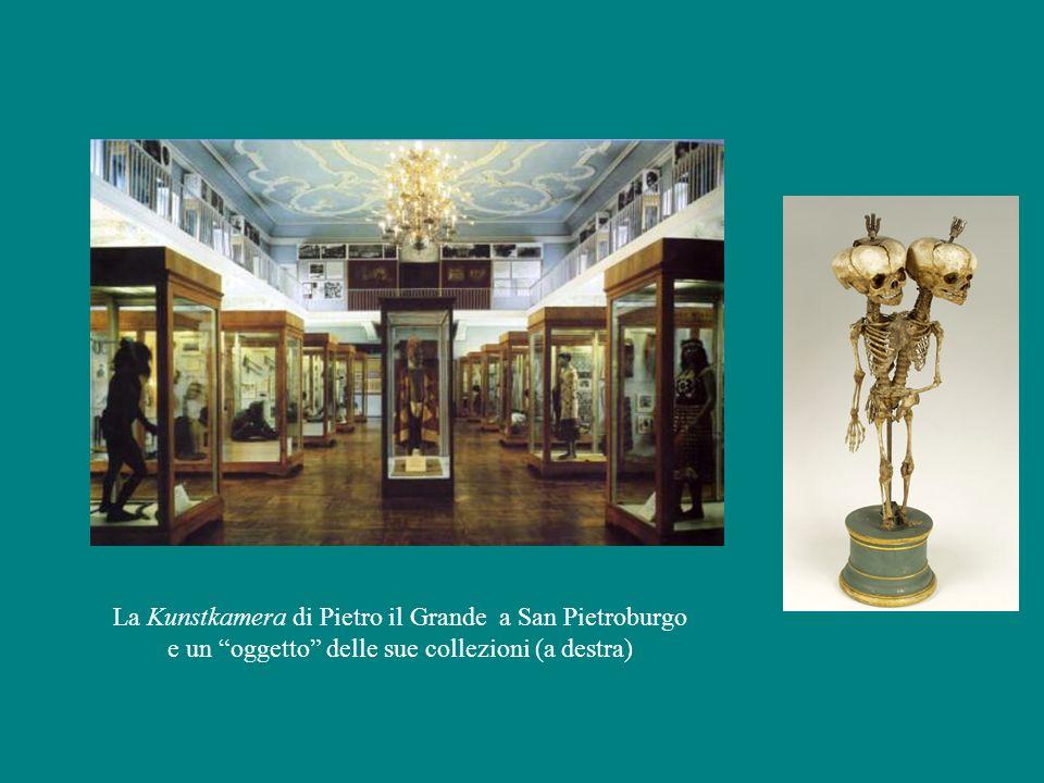 """La Kunstkamera di Pietro il Grande a San Pietroburgo e un """"oggetto"""" delle sue collezioni (a destra)"""