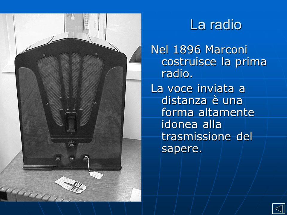 La radio Nel 1896 Marconi costruisce la prima radio. La voce inviata a distanza è una forma altamente idonea alla trasmissione del sapere.