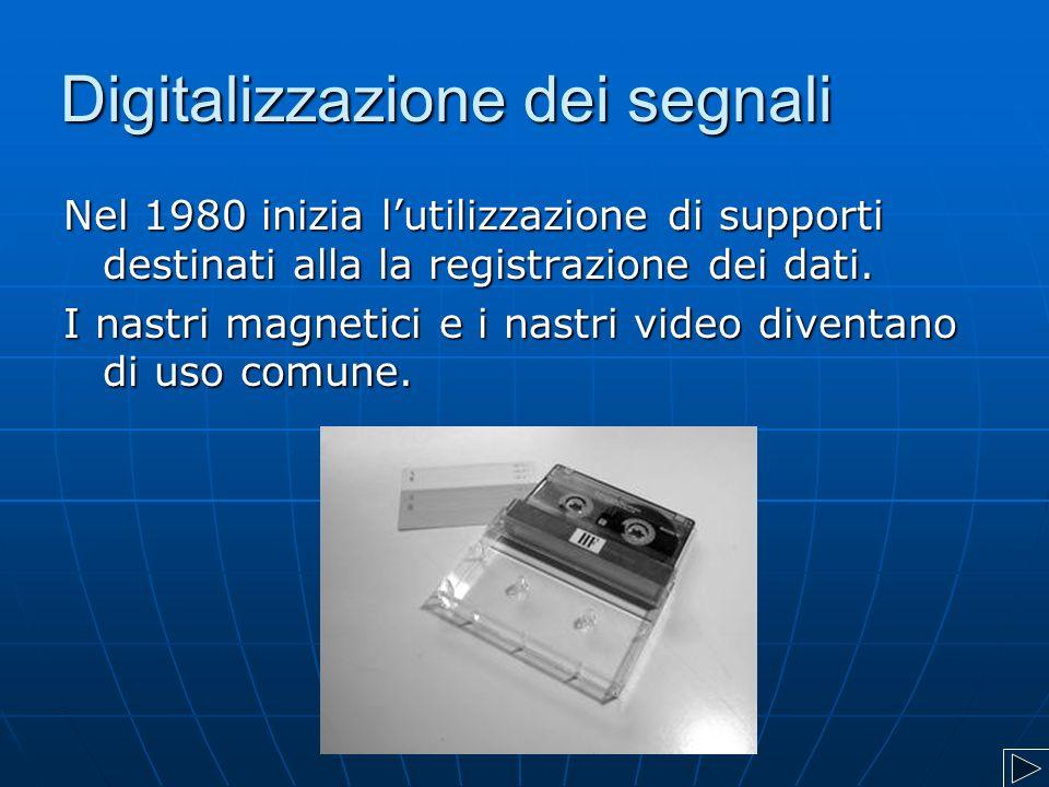 Digitalizzazione dei segnali Nel 1980 inizia l'utilizzazione di supporti destinati alla la registrazione dei dati. I nastri magnetici e i nastri video