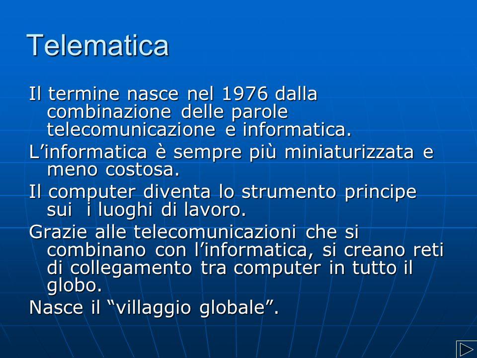 Telematica Il termine nasce nel 1976 dalla combinazione delle parole telecomunicazione e informatica. L'informatica è sempre più miniaturizzata e meno