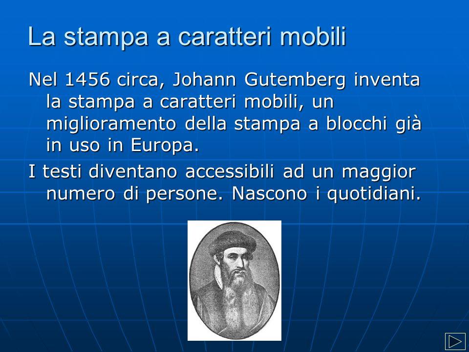 La stampa a caratteri mobili Nel 1456 circa, Johann Gutemberg inventa la stampa a caratteri mobili, un miglioramento della stampa a blocchi già in uso in Europa.