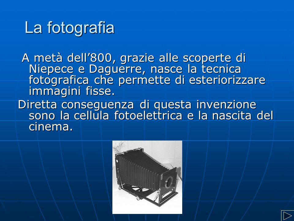 La fotografia A metà dell'800, grazie alle scoperte di Niepece e Daguerre, nasce la tecnica fotografica che permette di esteriorizzare immagini fisse.