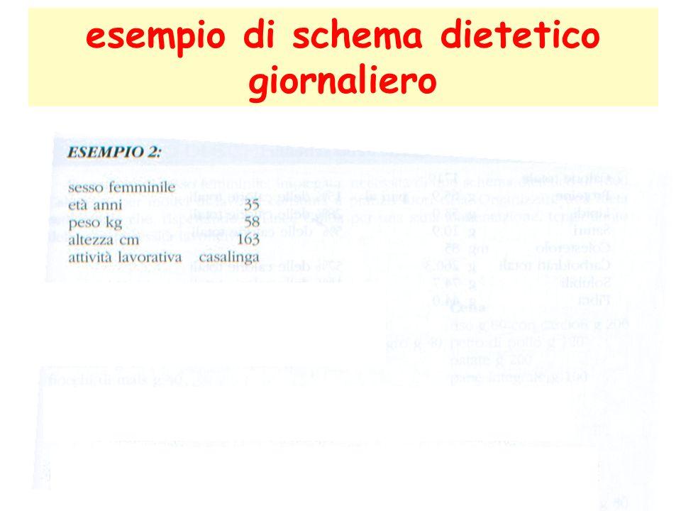 esempio di schema dietetico giornaliero