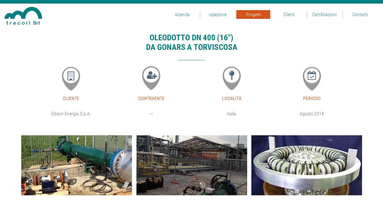 Edison Energia S.p.A.---Italia CLIENTECONTRAENTELOCALITÀ Agosto 2014 PERIODO OLEODOTTO DN 400 (16