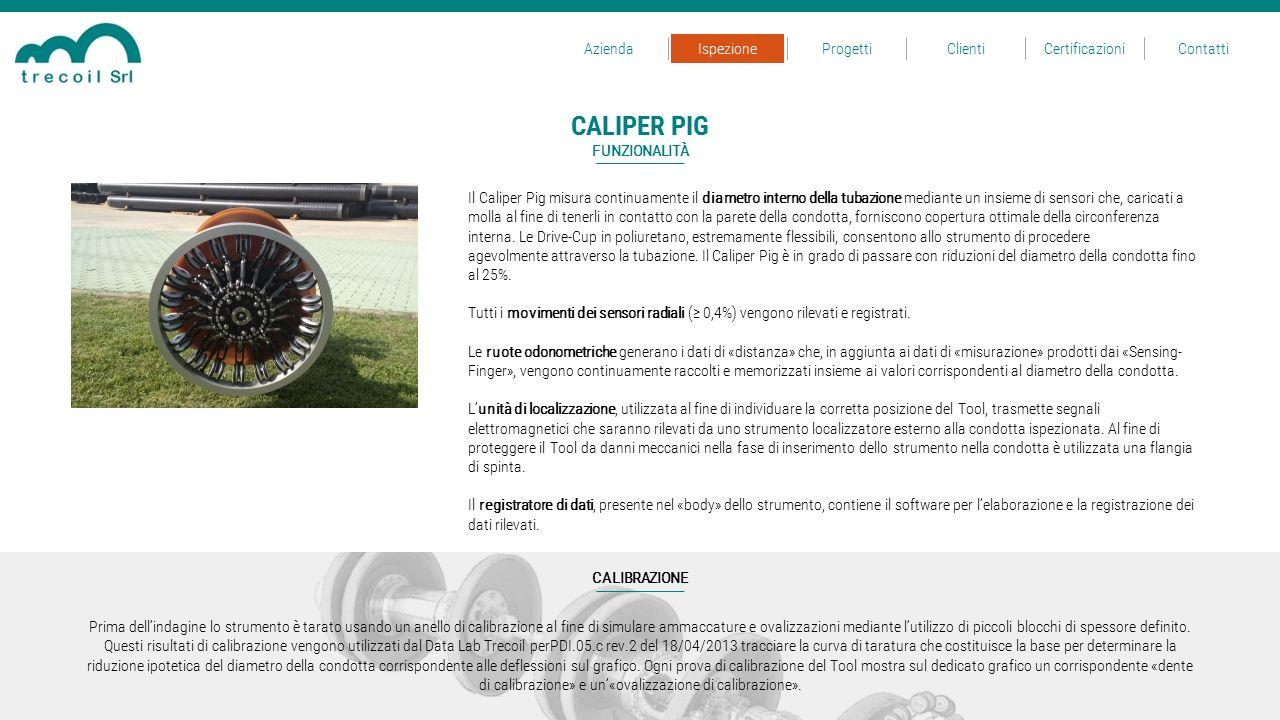Il Caliper Pig misura continuamente il diametro interno della tubazione mediante un insieme di sensori che, caricati a molla al fine di tenerli in con