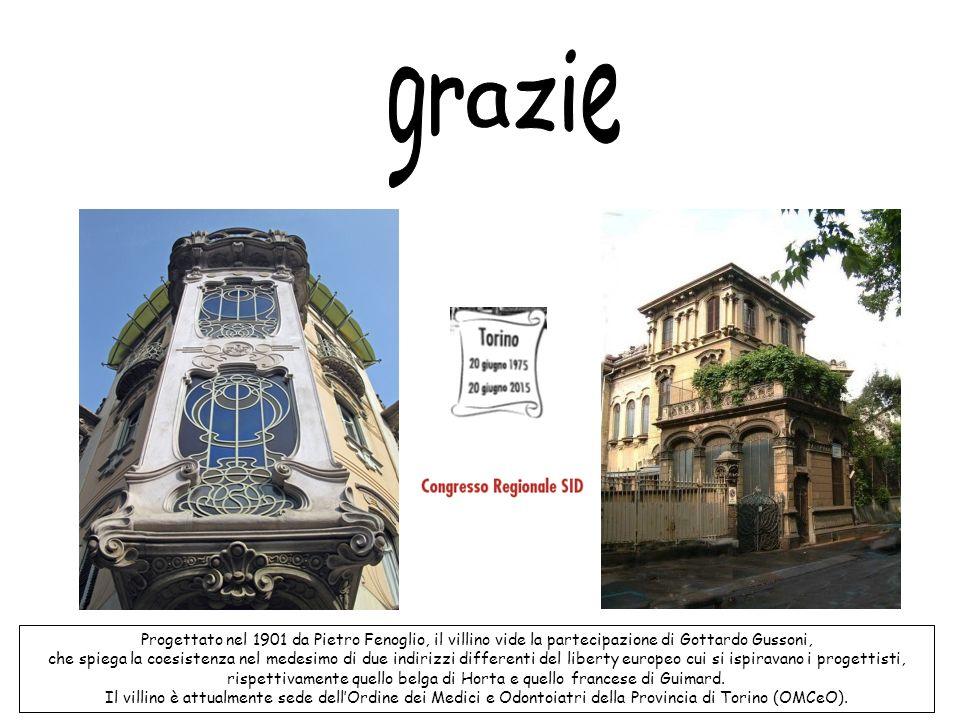 Progettato nel 1901 da Pietro Fenoglio, il villino vide la partecipazione di Gottardo Gussoni, che spiega la coesistenza nel medesimo di due indirizzi