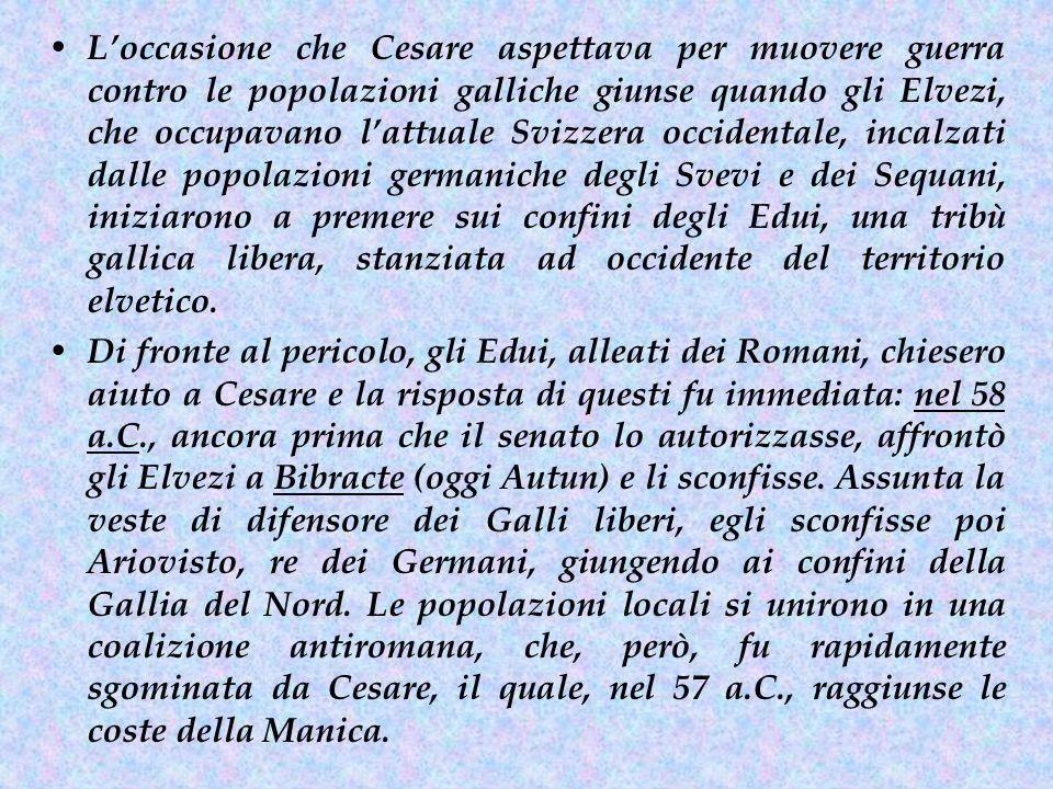 L'occasione che Cesare aspettava per muovere guerra contro le popolazioni galliche giunse quando gli Elvezi, che occupavano l'attuale Svizzera occiden