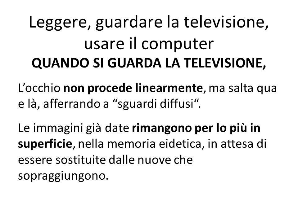 Leggere, guardare la televisione, usare il computer QUANDO SI GUARDA LA TELEVISIONE, L'occhio non procede linearmente, ma salta qua e là, afferrando a