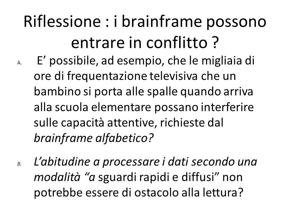 Riflessione : i brainframe possono entrare in conflitto ? A. E' possibile, ad esempio, che le migliaia di ore di frequentazione televisiva che un bamb