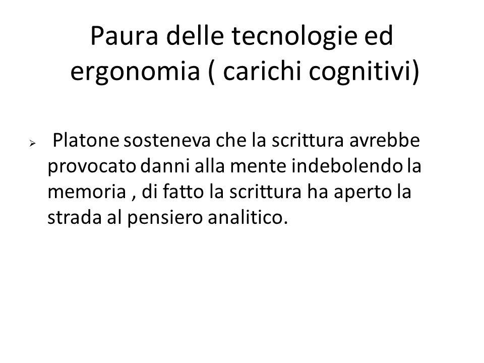 Paura delle tecnologie ed ergonomia ( carichi cognitivi)  Platone sosteneva che la scrittura avrebbe provocato danni alla mente indebolendo la memori