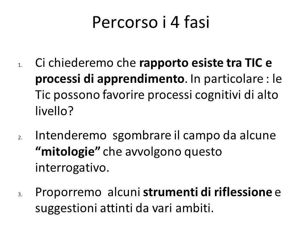 Percorso i 4 fasi 1. Ci chiederemo che rapporto esiste tra TIC e processi di apprendimento. In particolare : le Tic possono favorire processi cognitiv