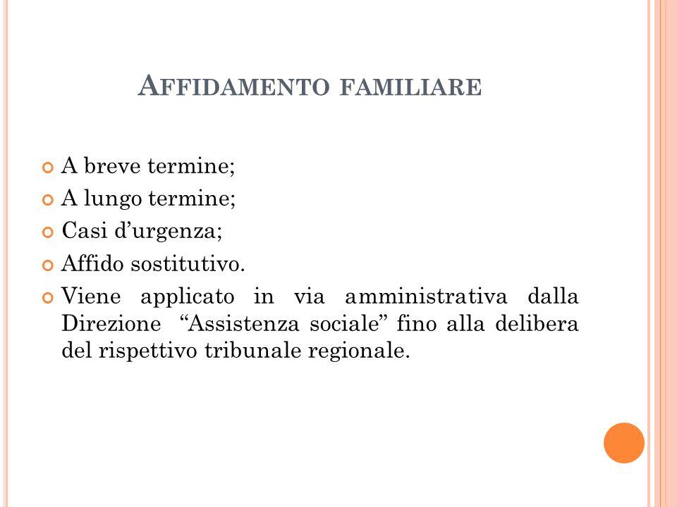 A FFIDAMENTO FAMILIARE A breve termine; A lungo termine; Casi d'urgenza; Affido sostitutivo.
