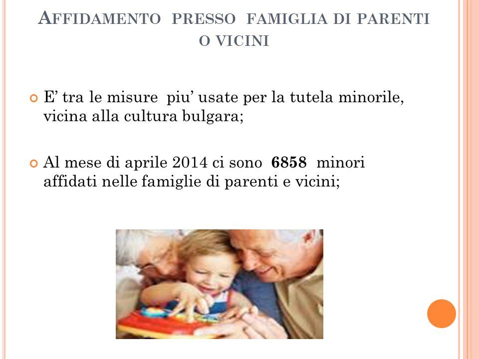 A FFIDAMENTO PRESSO FAMIGLIA DI PARENTI O VICINI E' tra le misure piu' usate per la tutela minorile, vicina alla cultura bulgara; Al mese di aprile 2014 ci sono 6858 minori affidati nelle famiglie di parenti e vicini;
