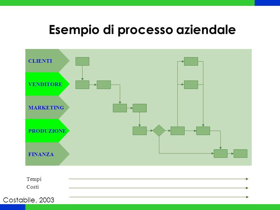 Esempio di processo aziendale CLIENTI VENDITORE MARKETING PRODUZIONE FINANZA Tempi Costi Costabile, 2003