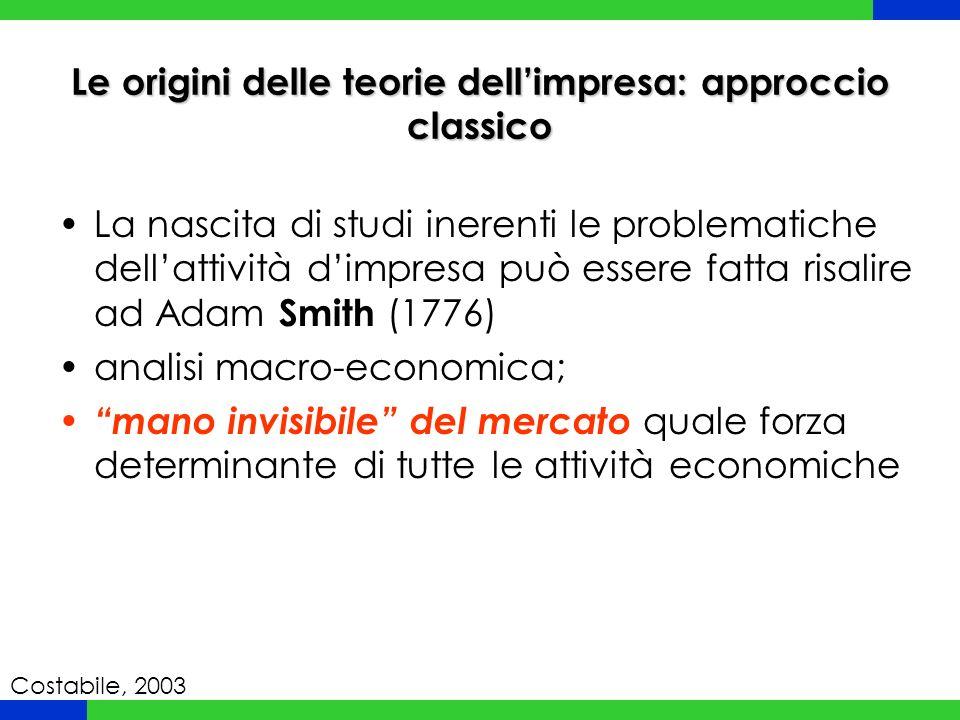 Le origini delle teorie dell'impresa: approccio classico La nascita di studi inerenti le problematiche dell'attività d'impresa può essere fatta risali