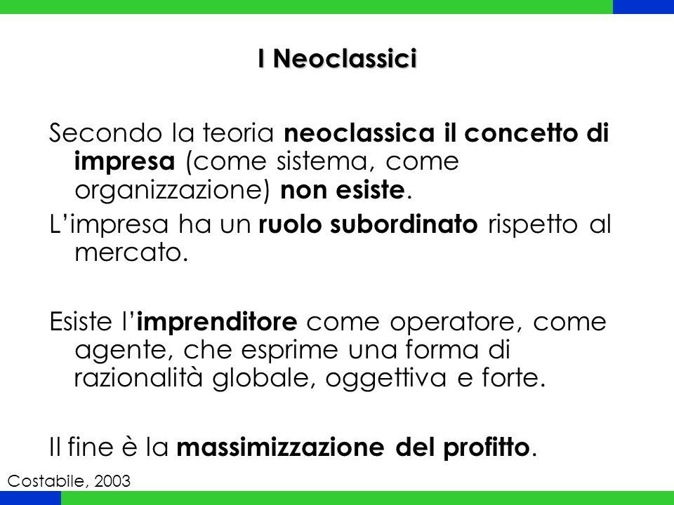 Secondo la teoria neoclassica il concetto di impresa (come sistema, come organizzazione) non esiste. L'impresa ha un ruolo subordinato rispetto al mer