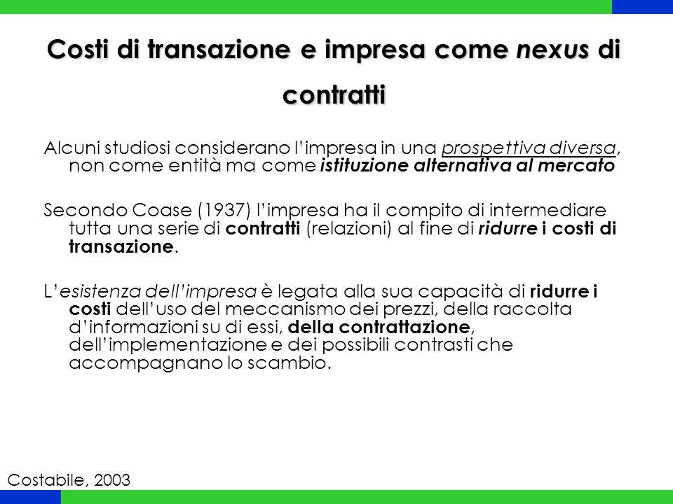 Costi di transazione e impresa come nexus di contratti Alcuni studiosi considerano l'impresa in una prospettiva diversa, non come entità ma come istit