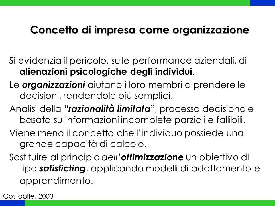 Concetto di impresa come organizzazione Si evidenzia il pericolo, sulle performance aziendali, di alienazioni psicologiche degli individui. Le organiz