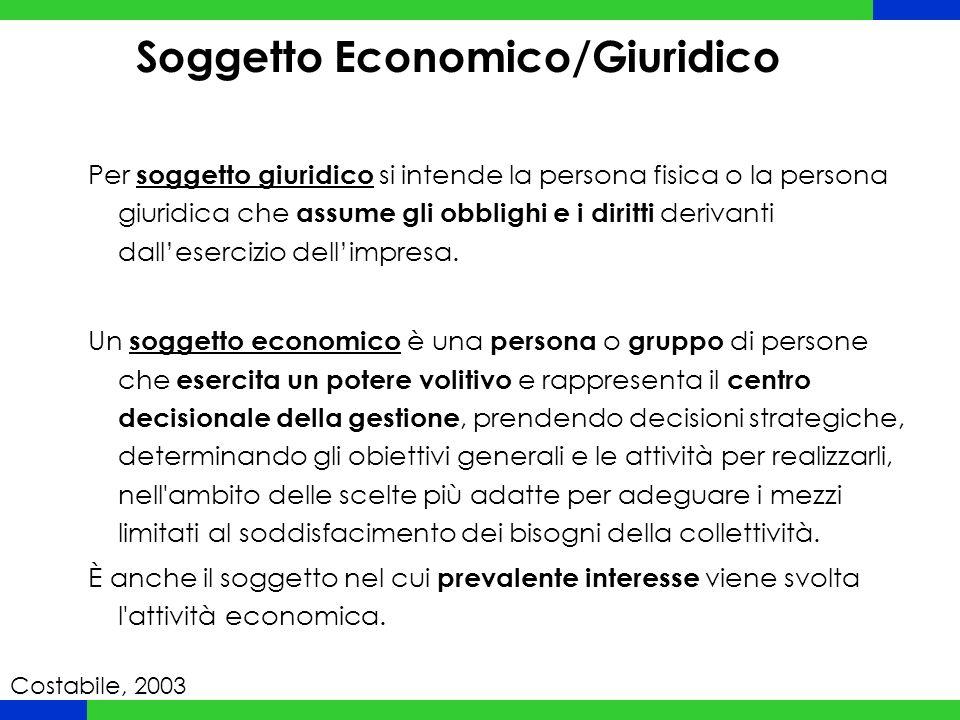 Soggetto Economico/Giuridico Per soggetto giuridico si intende la persona fisica o la persona giuridica che assume gli obblighi e i diritti derivanti dall'esercizio dell'impresa.