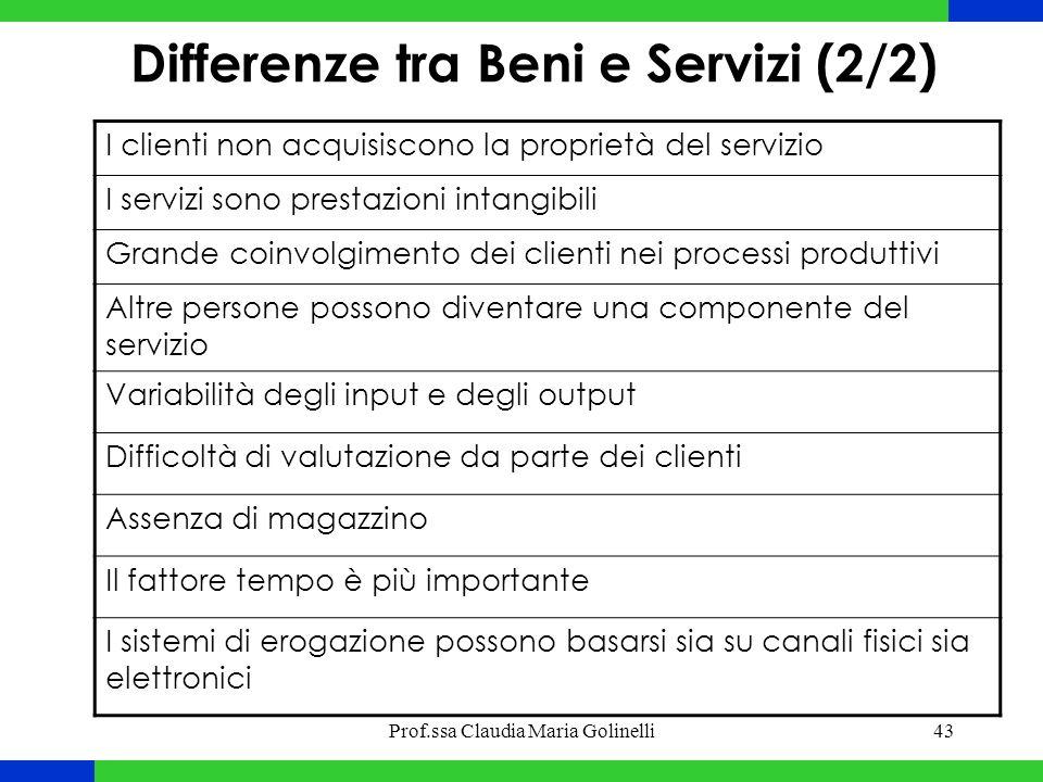Prof.ssa Claudia Maria Golinelli43 I clienti non acquisiscono la proprietà del servizio I servizi sono prestazioni intangibili Grande coinvolgimento d